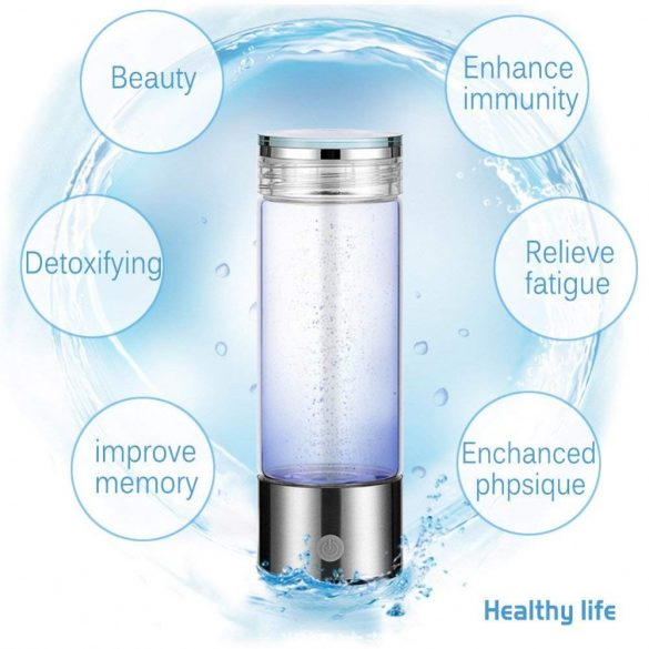 Hydrogen Generator Water Bottle  with SPE/PEM technology and USB charging 350ml