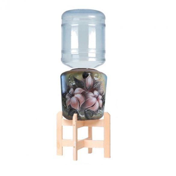 Kerámia vízadagoló állvánnyal (orchidea, barna) HANDMADE 19l ballonhoz