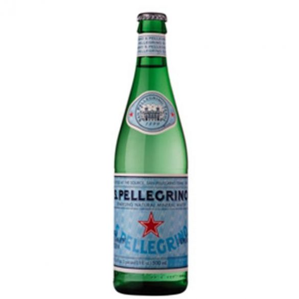 San Pellegrino mineral water 0,75l sparkling in glass