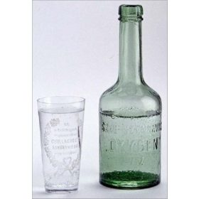 Hungarian bottled water in glass