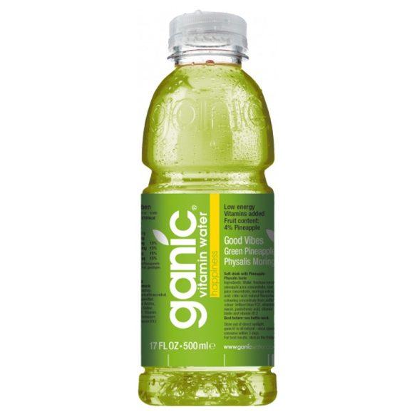 Ganic Vitaminwater-Happiness- Pineapple, Kiwi, Physalis 0,5l mentes ásványvíz PET palackban